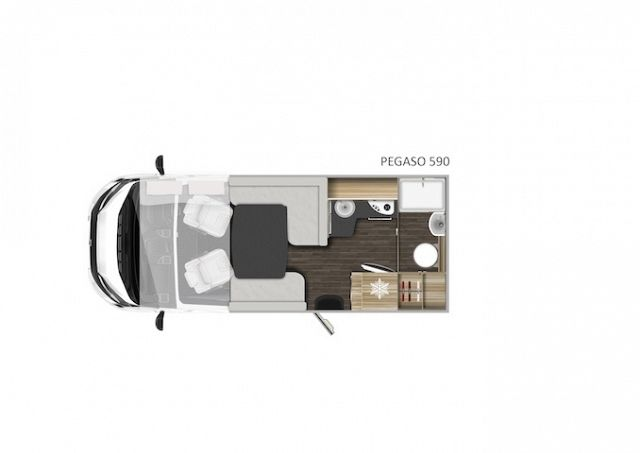 Pegaso 590 - A Class - Drop Down Bed Layout