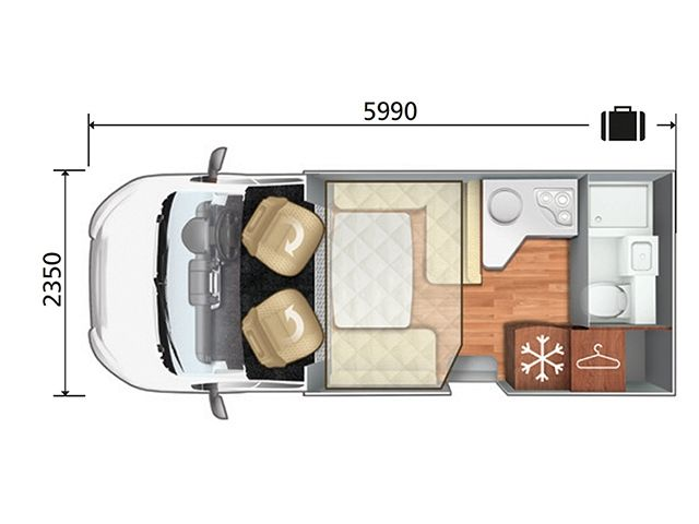 T Line 590 - Lo Line - Drop Down Bed Layout