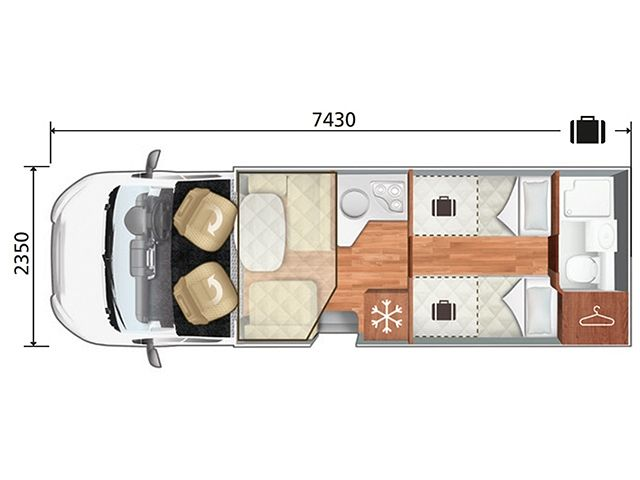 T Line 785 - Lo Line - Drop Down Bed Layout